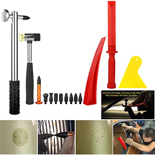 Wcaro Large PDR Kit Dent Puller Dent Remover PDR Rods Hail Damage Repair PDR Tools Car Dent Removal Paintless Dent Repair Tools Kit Slide Hammer Glue Puller LED Line Board