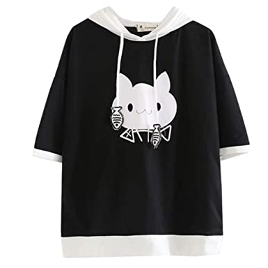 82ca531f856522 Harajuku Women Harajuku Cute Cartoon Cat Hooded Short Sleeve Casual Black T  Shirt
