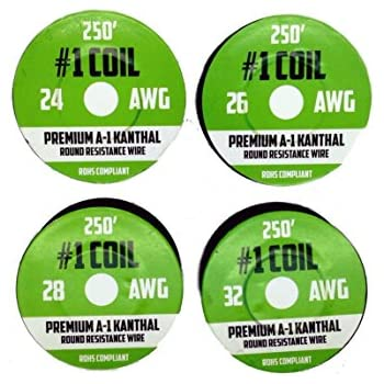 Temco kanthal a1 wire 24 gauge 1 lb 1018 ft resistance awg a 1 ga kanthal a 1 wire 1000 ft 4 pack 24 26 28 32 awg gauge spools each roll 250 feet rohs certified safe resistance wires greentooth Gallery