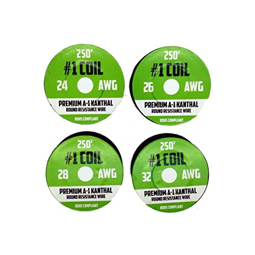Kanthal A-1 Wire 1000 ft 4 Pack - 24 26 28 32 AWG Gauge Spools - Each Roll 250 Feet - RoHS Certified Safe Resistance Wires (24 G Kanthal Wire)