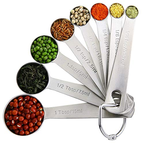 18/8 Stainless Steel Metal Measuring Spoons for Dry or Liquid,Set of 8