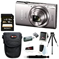 Canon PowerShot ELPH 360 HS 20.2 MP Digital Camera (Silver) + Sony 16GB Memory Card + Focus Medium Point & Shoot Camera Accessory Bundle by Canon