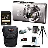 Canon PowerShot ELPH 360 HS 20.2 MP Digital Camera (Silver) + Sony 16GB Memory Card + Focus Medium Point & Shoot Camera Accessory Bundle