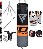 RDX Punching Bag Filled MMA Boxing Training Heavy Punch Gloves Ceiling Hook Chain Muay Thai Kickboxing Martial Arts 4FT 5FT Set