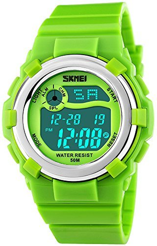 Fanmis Children's Outdoor Sports Multifunction Waterproof Digital Watch Military 12/24H Electronic Alarm Stopwatch Backlight 164FT Water Resistant Calendar Month Date Day Week Rubber Strap Watch Green by Fanmis