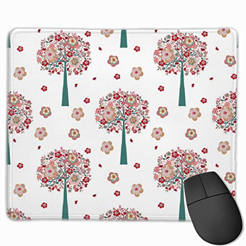Classic Customized Gaming Mouse Pad Custom for Computers Laptop Floral Trees Wallpaper Pattern