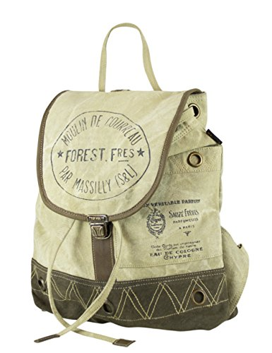 Vintage Handbag Canvas Backpack Of Leather Sunsa Bag Women's With 51713 Shoulder TxRq57w