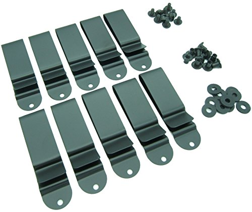 "Quick Clip Pro Holster Clips, Black Oxide Steel for 1.75"" Belts. IWB OWB Kydex, Leather, Hybrid Holster Making. w/ Hardware Binding Posts/Screws Made in USA (1.75"" 10-PACK)"