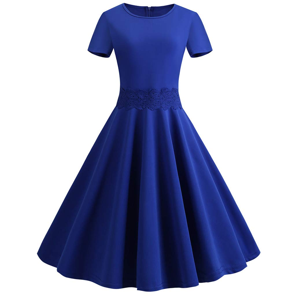 Women's Elegant Evening Dress,CSSD Ladies' O-Neck Short Sleeve Solid Color Retro Dress Party Slim Midi Dress Plus Size (XL, Blue)