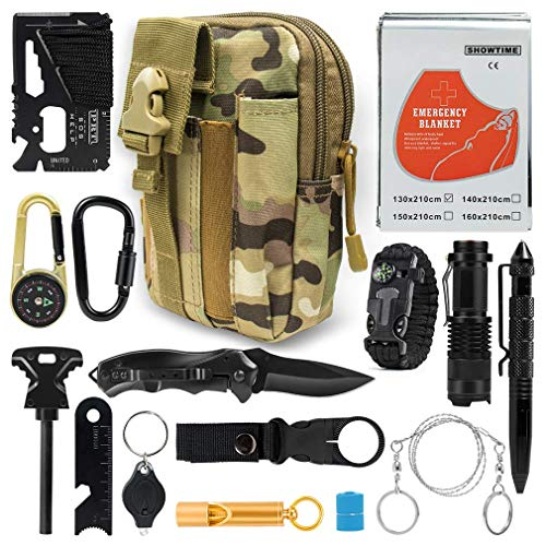 Puhibuox Cool Survival Gear Kit, Gifts for Him Dad Husband Men Boyfirend Teen Boys, Outdoor Emergency Tactical 15-in-1 Survival Tool for Cars, Camping, Hiking, Hunting, Adventure -