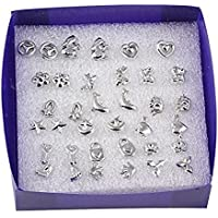 18 Pairs/lot Mixed Styles 925 Sterling Silver Studs Earring Platinum Jewelry