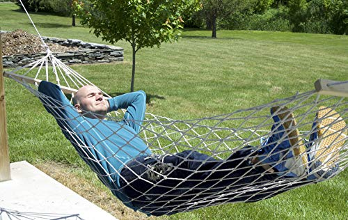 Handsome Hammock Two Person Sleeping Bed Swing Cotton Rope Double Hammock with Wood Spreader & Green Carry Bag (450 LB Capacity) ()