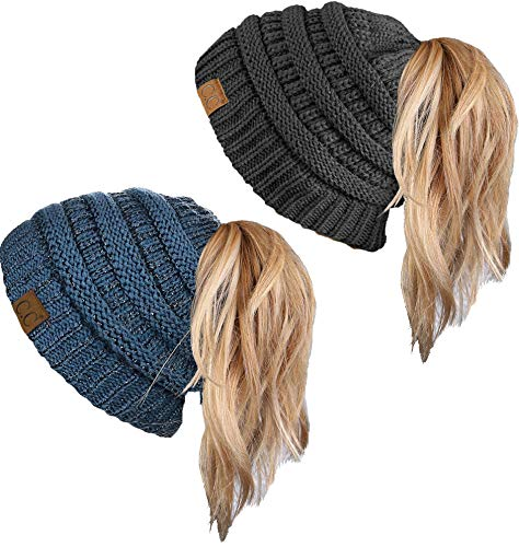 5995b123286 Funky Junque CC Ponytail Messy Bun BeanieTail Womens Beanie Solid Ribbed Hat  Cap. by funky junque