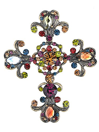 Alilang Womens Vintage Inspired Brass Tone Shiny Multi Rhinestones Antique Colorful Holy Cross Brooch Pin Pendent ()