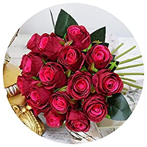 Artificial Fowers 18Pcs/Lots Artificial Rose Flowers Wedding Bouquet White Pink Thai Royal Rose Silk Flowers Home Decoration Wedding Party Decor,Dark Red 35
