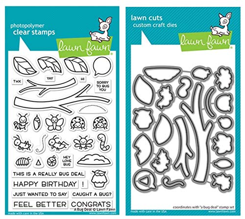 "Lawn Fawn A Bug Deal 4""x6"" Clear Stamp Set and Coordinating Custom Craft Die Set (LF2221 LF2222), Bundle of 2 Items"