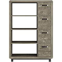 Ameriwood Home Eastlin Bookcase with Bins, Brown