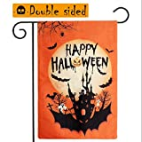 AerWo Halloween Garden Flag 12×18 inch Double-Sided Happy Halloween Flag, Burlap Pumpkin Castle Bat Decorative Garden Yard Flag