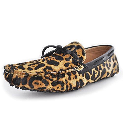 Piel Leopard Shoess Slip Fulinken Confort Ons Tie Conducción Hombres Loafers Haircalf Coche Los Leopardo Front qI6C1