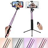 Bluetooth Selfie Stick w/ 270° Rotatable Holder , Mirror , Tripod for LG V30 V30+ / LG6 G6+ / Nokia 8 6 5 3 / Huawei Nova 2 Plus / P10 Plus / Honor V9 / BLU Vivo 8 / XL2 (Purple)