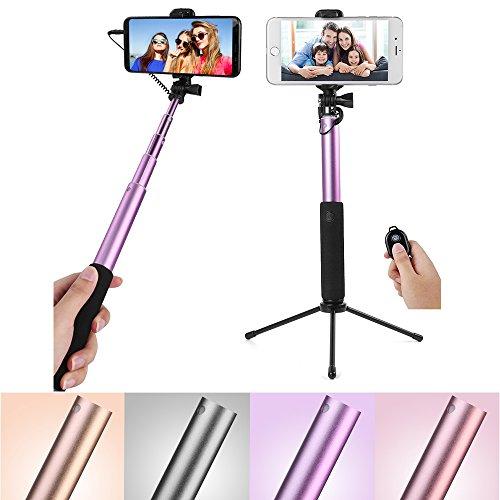 Bluetooth Selfie Stick w/270° Rotatable Holder, Mirror, Tripod for