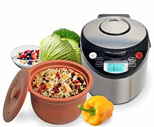 VitaClay VM7900-8 Smart Organic Multi-Cooker/Rice Cooker, Brushed Stainless Steel and Black