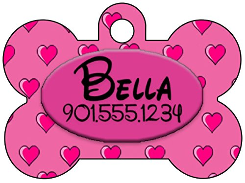 (Disney Themed Hearts Pet Id Tag for Dogs & Cats Personalized w/ Your Pet's Name & Number (Pink))