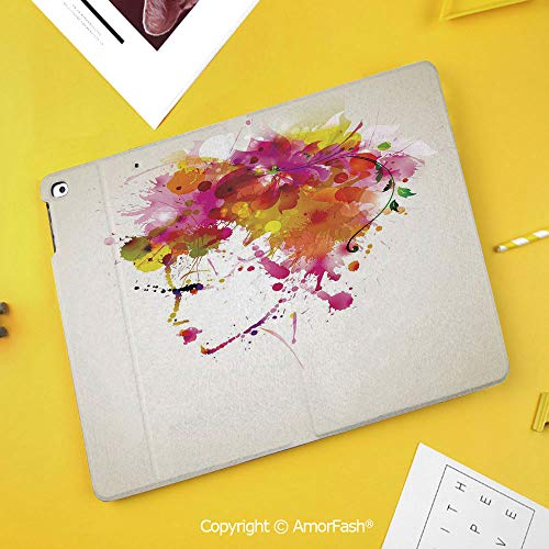 Printed Case for Samsung Galaxy Tab S4 10.5 SM-T830 T835 T837 Tablet Kids Safe,Abstract,Watercolor Portrait of a Woman with Artsy Floral Hairstyle Paint Splatters Decorative,Orange Pink Green]()