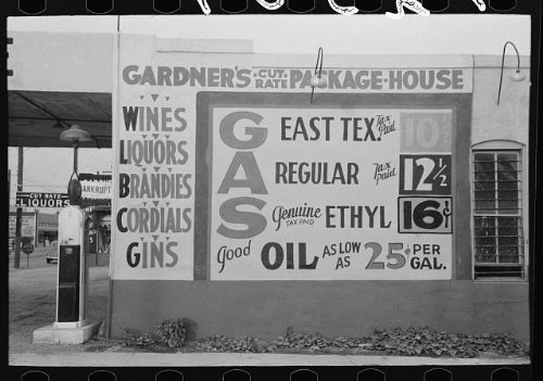 Photo: Sign at filling station which also sells - Texas Waco In Shopping