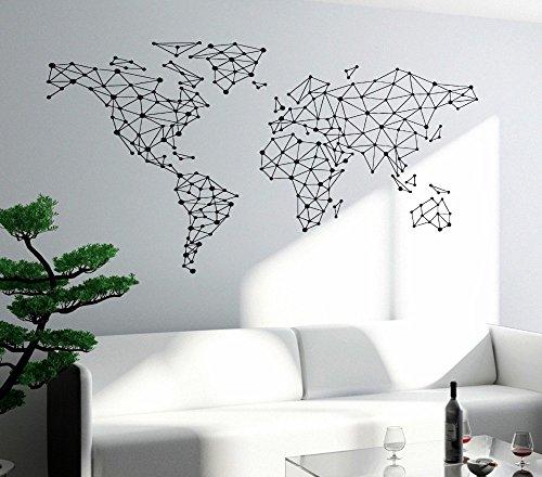 YOYOYU ART HOME DECOR Geometric Design World Map Wall Decal Home...