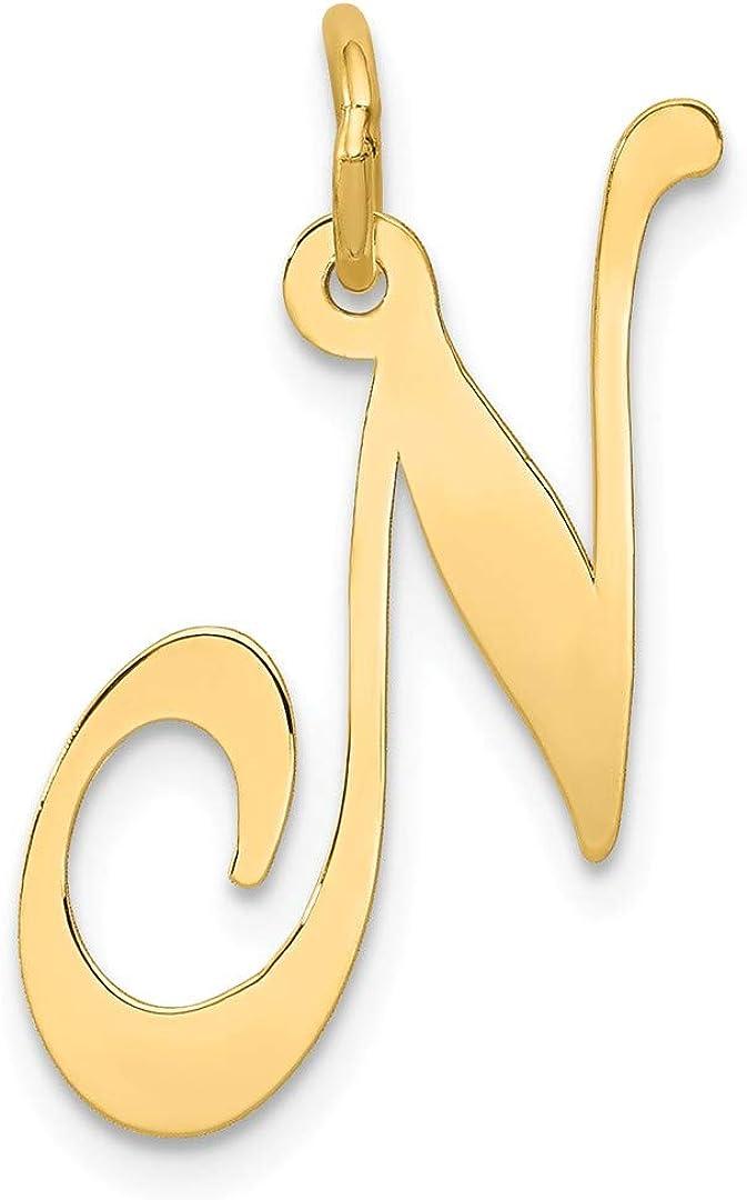 14K Yellow Gold Large Fancy Script Initial G Charm