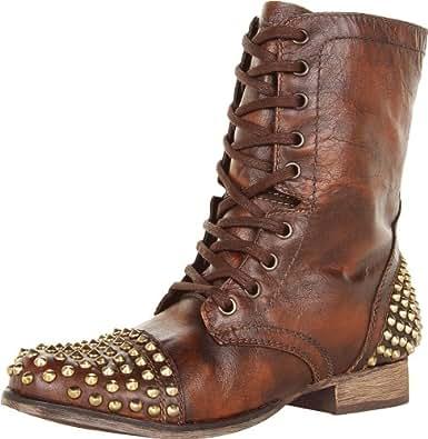 Steve Madden Women's Tarnney Ankle Boot,Brown/Gold,5.5 M US