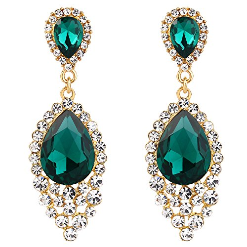 BriLove Wedding Bridal Dangle Earrings for Women Crystal Teardrop Cluster Beads Chandelier Earrings Emerald Color Gold-Toned