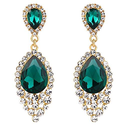 Emerald Green Chandelier - BriLove Wedding Bridal Dangle Earrings for Women Crystal Teardrop Cluster Beads Chandelier Earrings Emerald Color Gold-Toned