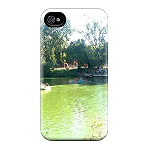 Flexible Tpu Back Case Cover For Iphone 4/4s - A Lake In A Pleasure Park In Romania