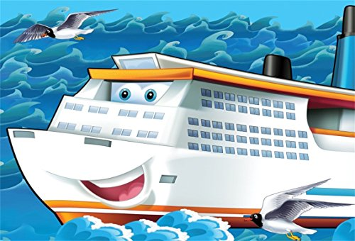 CSFOTO 5x3ft Background for Cartoon Cruise With Eyes Mouth Photography Backdrop Cute Seagull Sea Ocean Children Birthday Party Decoration Happy Celebration Photo Studio Props Vinyl Wallpaper