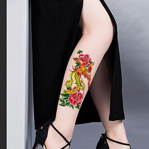 TAFLY Phoenix Fake Tattoo Colorful Waterproof Temporary Tattoo Body Sticker 5 Sheets