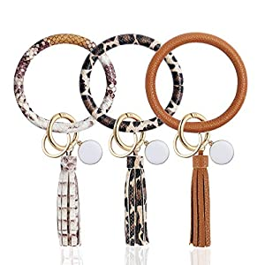 OFFICYGNET 3PCS Key Ring Bracelets, Leather Tassel Bangle Round Key Ring Wristlet Keychain for Women Girl and Valentine Birthday Party Gifts (Brown, Leopard, Snakeskin)