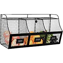 Large Country Rustic Metal Wire Wall Mounted Hanging Fruit Basket Storage Bin w/ Chalkboard Labels, Black