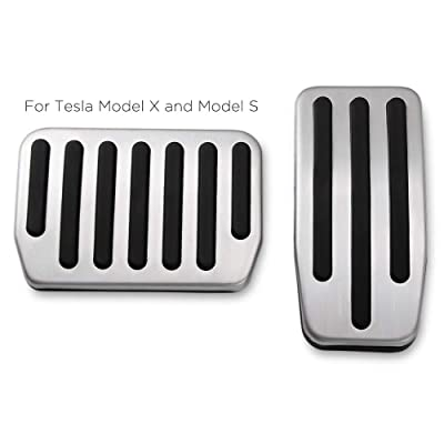 RangerRider Non-Slip Aluminium Alloy Accelerator and Brake Pedal Covers Pads for Model S and Model X, No Drilling, Set of 2: Automotive