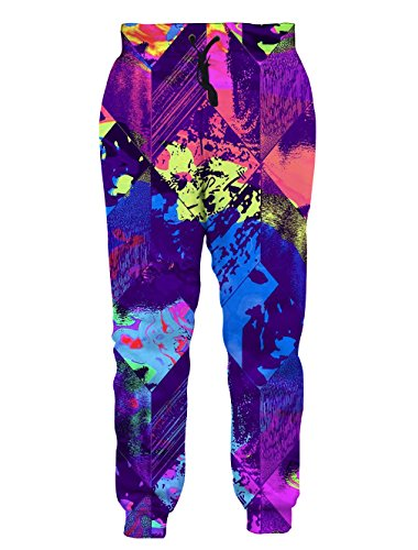 Leapparel Unisex Geometric Pants Elastic Drawstring Hip Hop Rock Sweatpants Trousers Colorful Ink XL