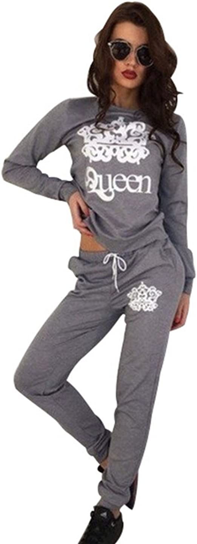 Damen V-Ausschnitt Jogginganzug Sweatshirt Sporthose Trainingsanzug Pullover Top