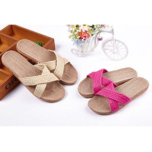 [Slip On Slipper lino algodón] Happy Lily antideslizante primavera Open Toe sandalia de verano para adulto, beige