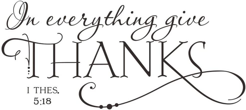 BooDecal Christian Quotes Lettering Words Black Design Wall Decals for Office Study Room Proverbs in Everything Give Thanks Wall Décor Sticker Vinyl Decal 1 Thessalonians 5:18 for Thanksgiving Decor