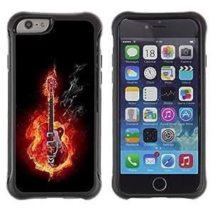 """Pulsar iFace Series Tpu silicona Carcasa Funda Case para Apple (4.7 inches!!!) iPhone 6 , Guitar Rock Heavy Metal Las llamas de fuego Música"""""""