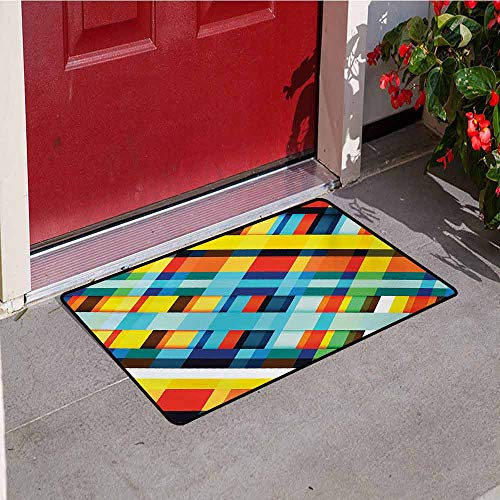 Jinguizi Colorful Commercial Grade Entrance mat Vivid Colored Lines Stripes with Diagonal Elements Retro Layout with Modern Touch for entrances garages patios W31.5 x L47.2 Inch Multicolor