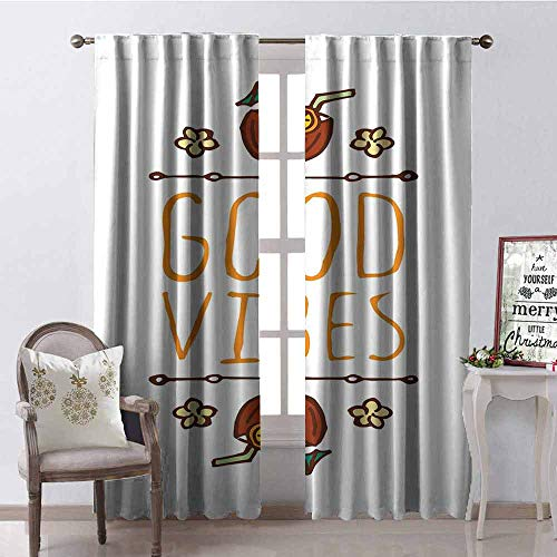 - Gloria Johnson Good Vibes Heat Insulation Curtain Hand Sketch Style Summer Elements Coconut Cocktail Drinks and Flowers for Living Room or Bedroom W52 x L95 Inch Orange Redwood Green