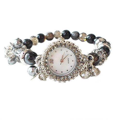 Crystal Stretch Bracelet Watch - Hanabe Korea Benecia Handmade Natural Stone Crystal Glass Stretch Wrist Watch Bracelet