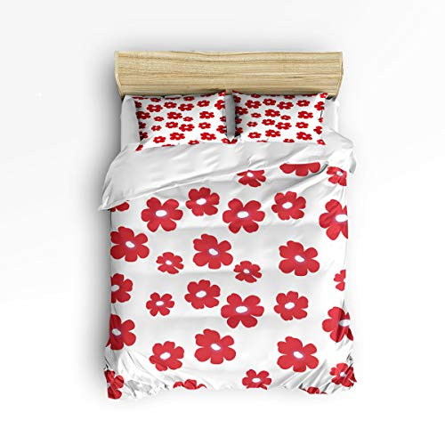 3 Piece Polyester Fabric Bedding Set with Zipper Closure King Size, Cute Red Flower White Background Comforter Cover Set Duvet Cover with 2 Pillow Shams for Girls/Boys/Kids/Children/Teen/Adults