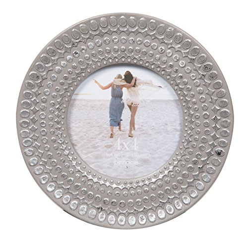 Pinnacle Frames and Accents 4X4 Grey Circle Frame with Silver DOTS,